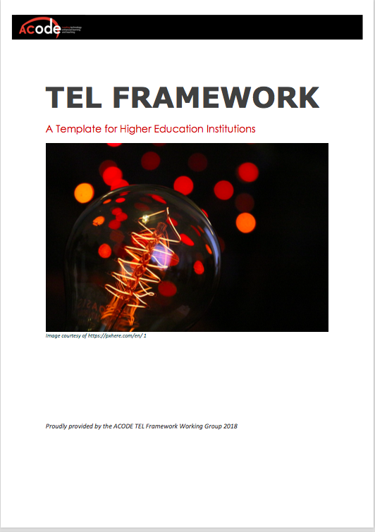 Cover of the ACODE TEL Framework Template