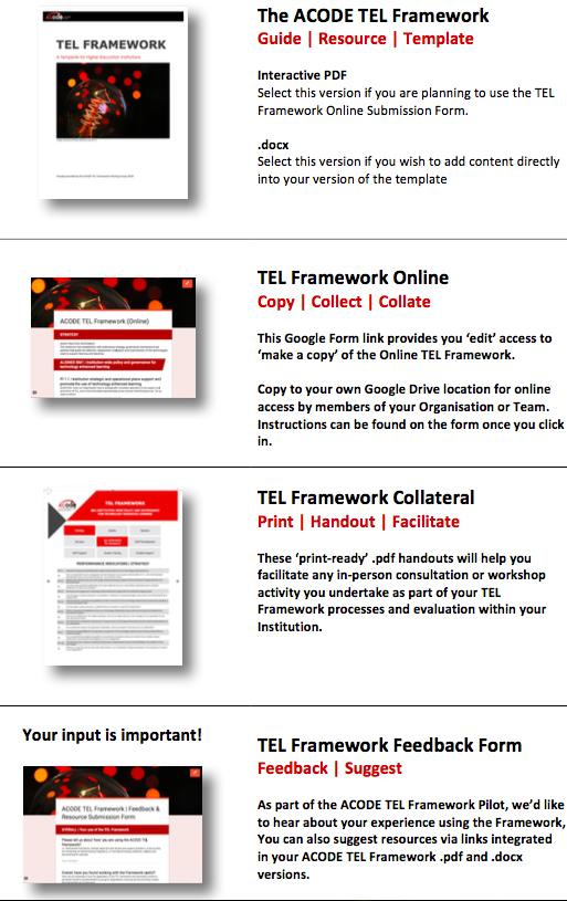 ACODE TEL Framework Pilot Pack Overview
